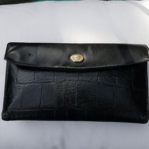 VTG Anne Klein croco embossed black wallet